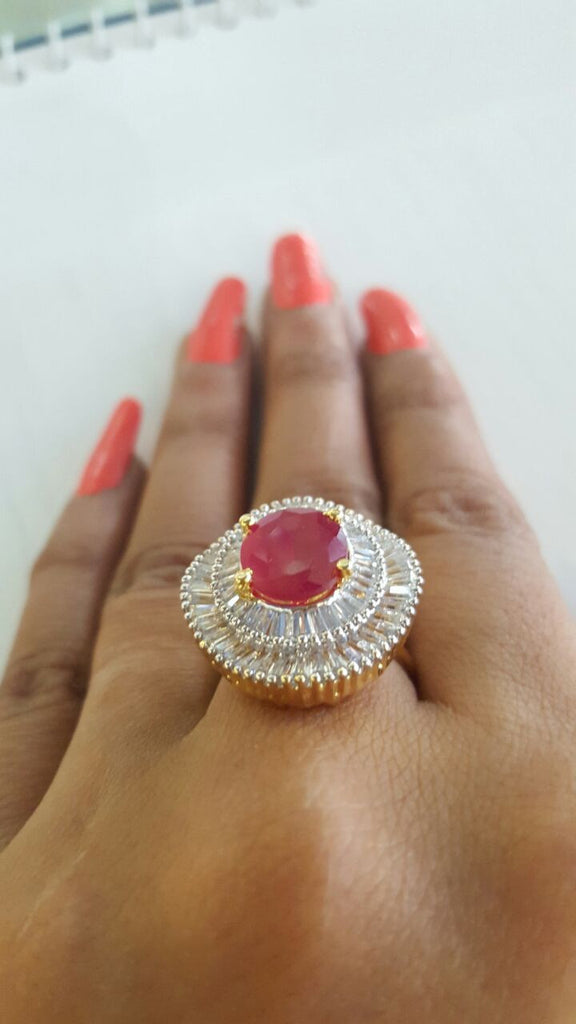 Corona Bold Crimson Cordon with Crystal CZ Stones Ring