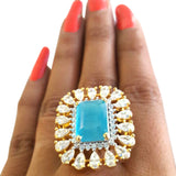 Corona Bold Turq studded with CZ Stones Ring