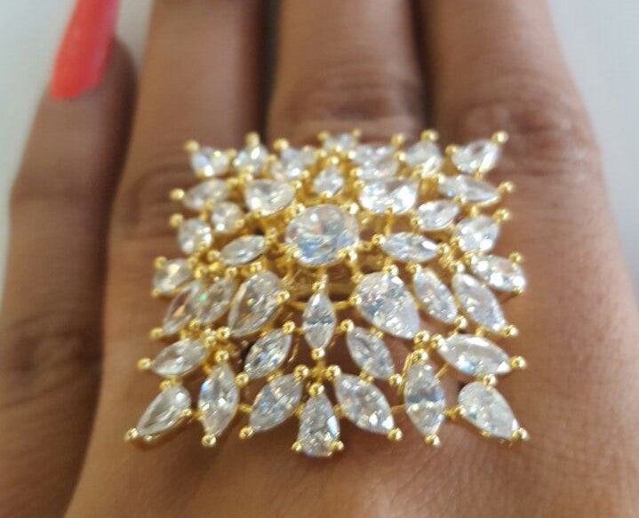 Corona Bold Vintage with Crystal CZ Stones Ring