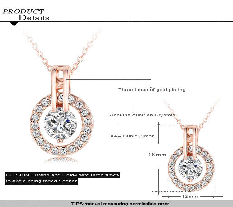 Beagloer Classic Rose Gold Plated in Genuine Austrian Crystal Necklace Pendant