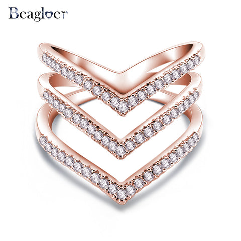 Beagloer Rose Gold Austrian Crystal Petals Rings