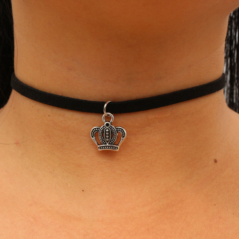 Choker Necklaces in Black Velvet Suede Leather