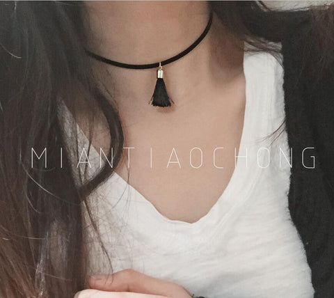 Choker Necklaces Multi layer with Triangle Geometric Pendant