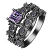 Hainon Black and Silver Plated Rings Set with Trendy Zircon Gemstones