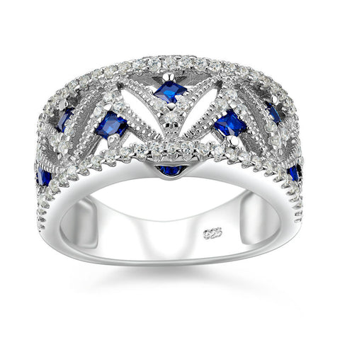 Corona Bold Arc with Crystal CZ Stones Ring