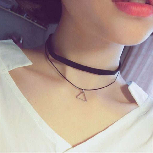 Choker Necklace from 90's Inspired by Lolita Punk in Black Velvet Suede
