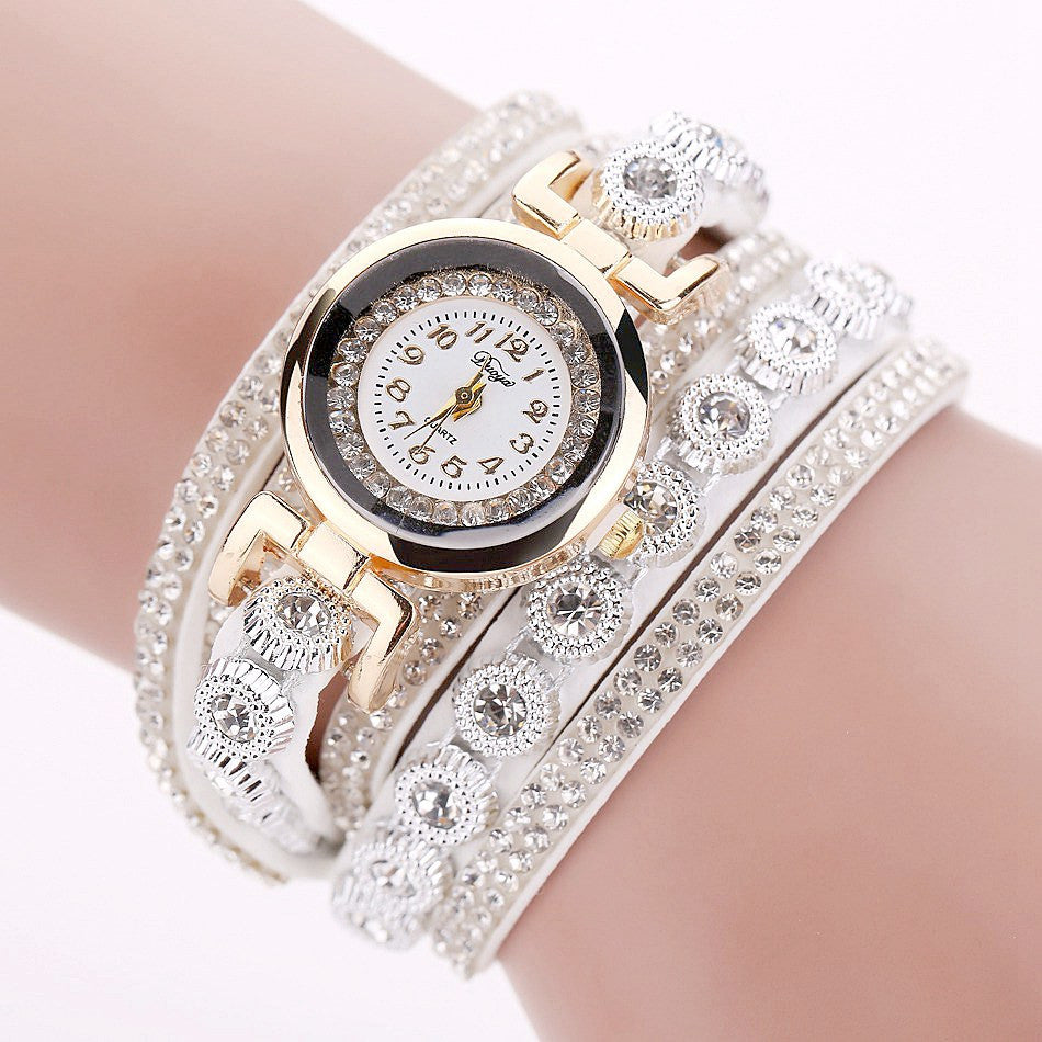 Duoya Women Bracelet Watch with Strap Leather and Crystal Round Dial