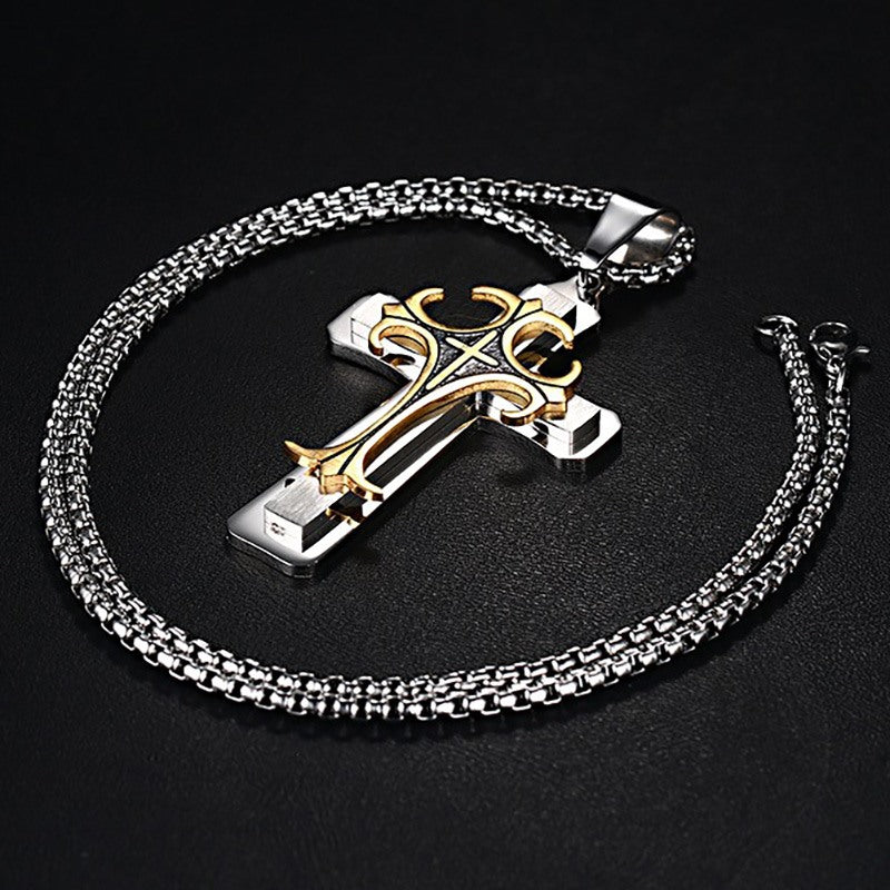 "Men's Stainless Steel Cross 3-Tone Pendant Necklace 24"" Chain"