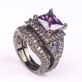 Hainon Black and Silver Plated with fine Zircon Stones Rings