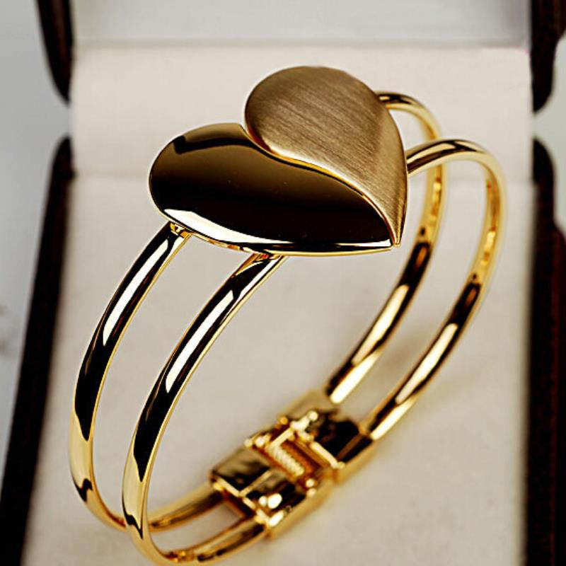 JQueen Crystal Charm Heart Bangle Gold Plated Bracelet