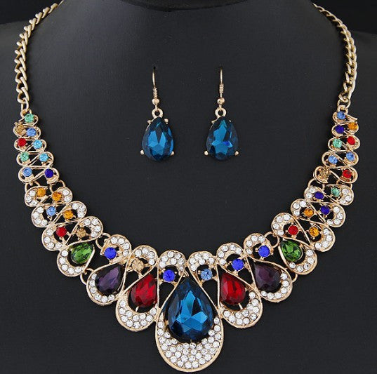 JQueen Women's Necklace Set in fine crystal Gemstones