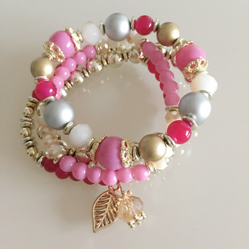 Lenore Crystal Beads Leaves Tassel Bracelet