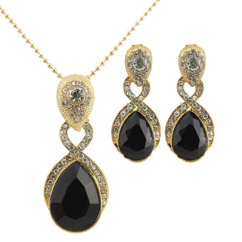 Glitz Nacre Gold and Silver Plated Statement Necklace Set