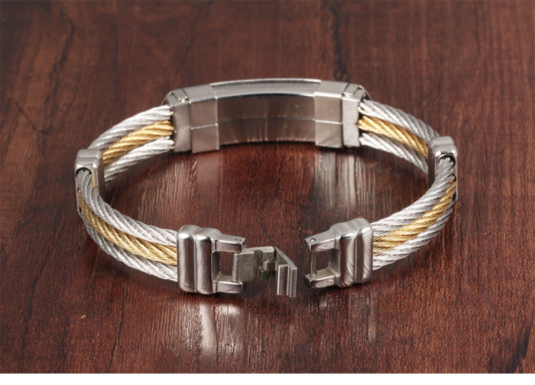 Men's 3 Rows Wire Chain Gold and Silver Platted Bracelets Men
