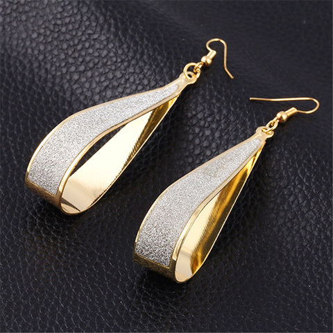Ashen Oblong Gold and Silver plated Earrings