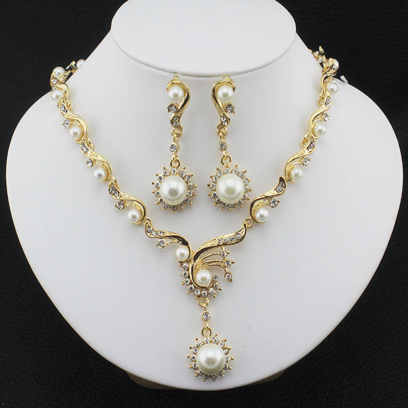 Jiayi Gold Plated with Imitation Pearls Necklace Set