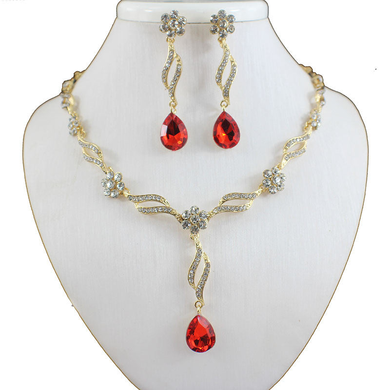 Jiayi Yellow White Gold Plated Austrian Crystal Necklace Set
