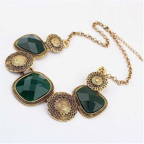 Jiayi Vintage Flower Pendant Antique Gold Plated Necklace Set