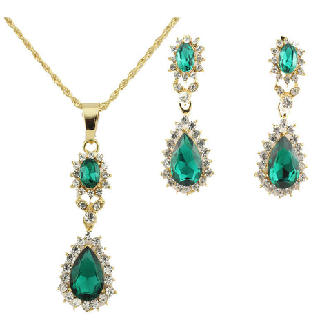 Jiayi Gold Plated Austrian Gemstones Necklace Set