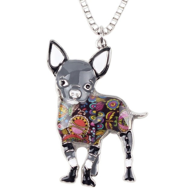 Chihuahua Dog Multi Color Choker Pendant Chain Necklace