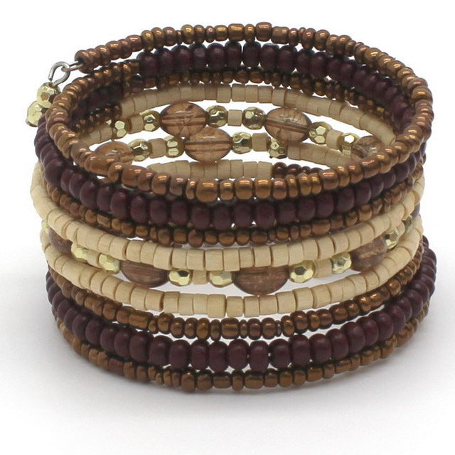 Men's Bohemia Vintage Woven Metal Winding Wood Beads Bracelet