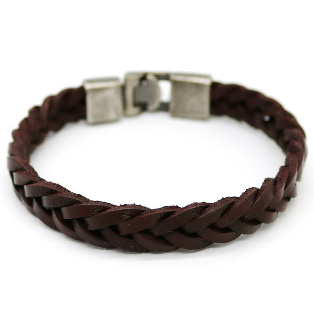 Men's Leisure Retro Leather Black and Brown Bracelet