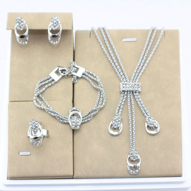 Jiayi Vintage Plated Bridal Rhinestone Necklace Set