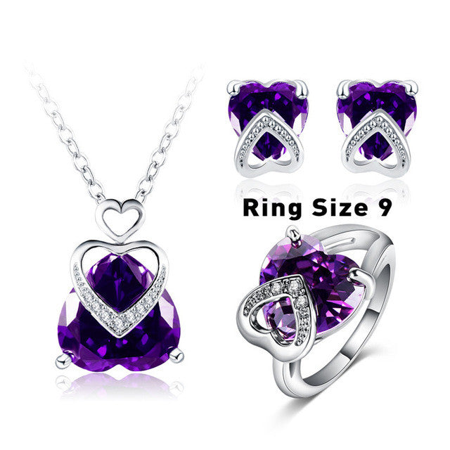 Beagloer Heart CZ Jewelry Necklace Set