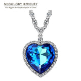 Neoglory Big Austrian Crystal Titanic Heart Necklaces
