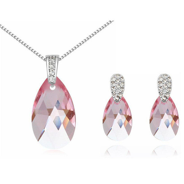 Baffin Austrian Crystal Water Drop Necklace Set From Swarovski