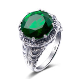 Warcraft Emerald Stone Ring in 925 Sterling Silver