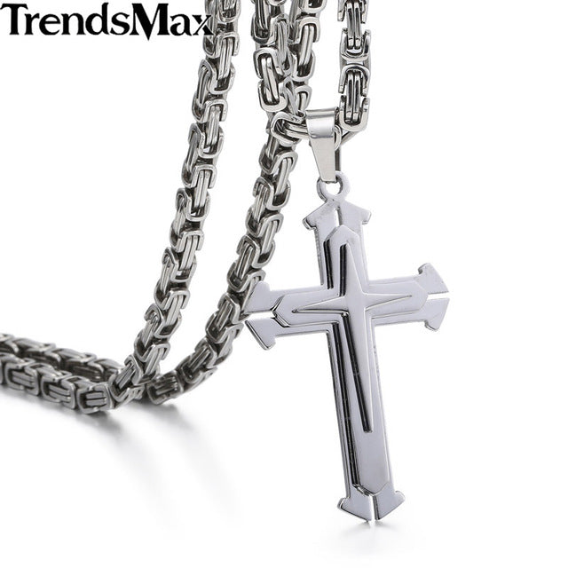 Men's Stainless Steel 3 Layer Knight Cross Necklace Pendant
