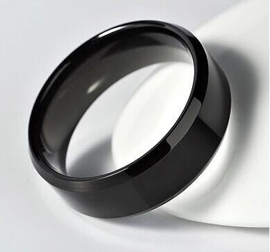 Men's AAA Black Platted Stainless Steel Ring
