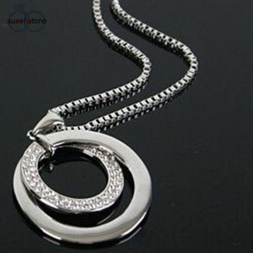 SUSENSTONE Long Chain Crystal Rhinestone Silver Plated Pendant