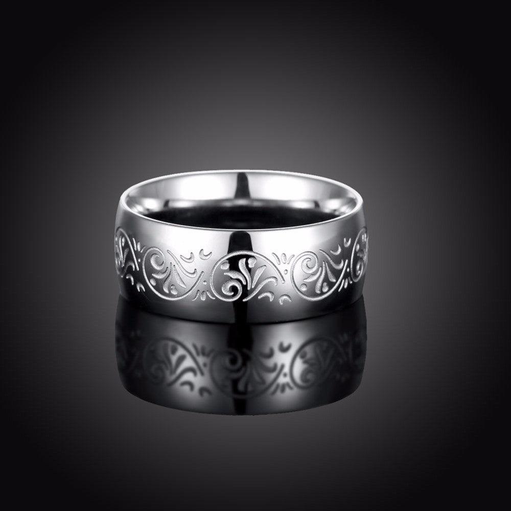 Men's Carved Stainless Steel AAA Platted Ring