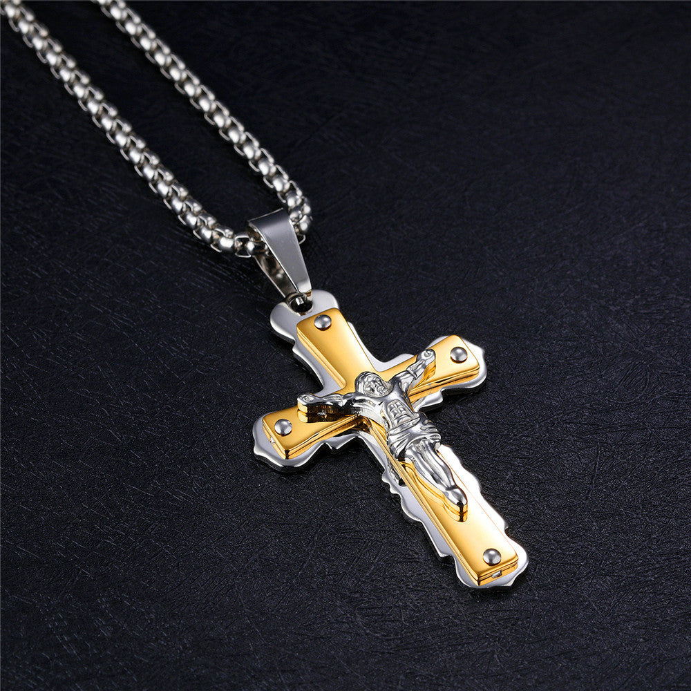 Men's Crucifix Jesus Lucky Cross Pendant Necklace