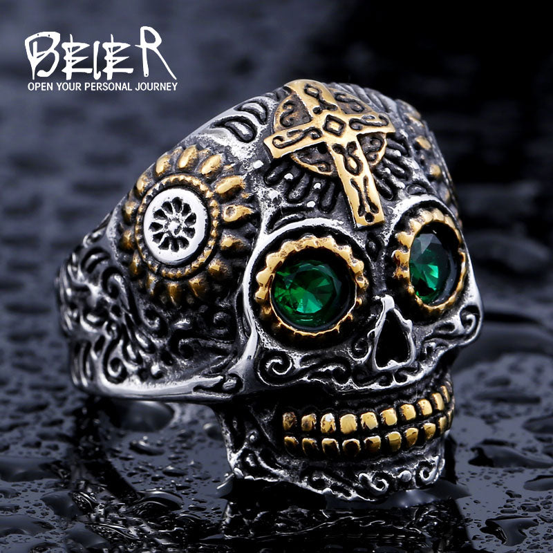 Men's Gothic Carving Skull Biker Ring