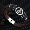 Musical Node Charm Leather Men's Bracelet
