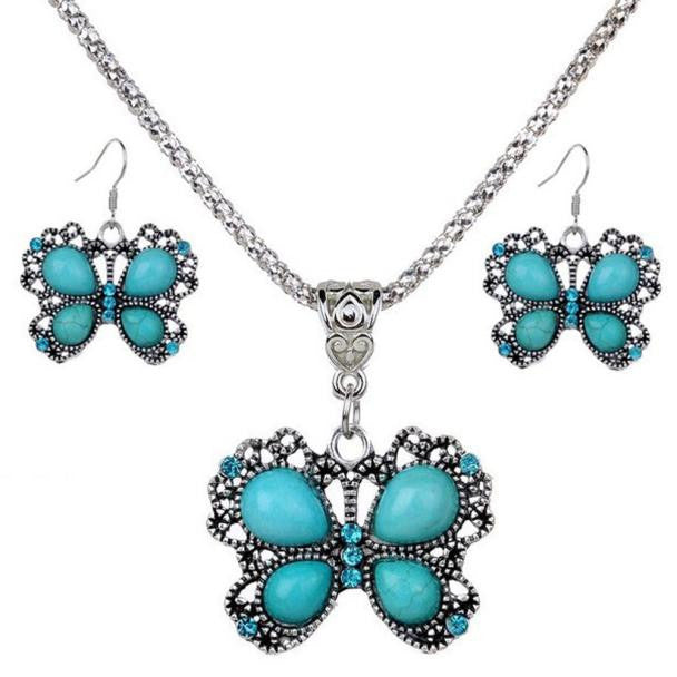 Women Butterfly Turquoise Pendant Chain Necklace And Earrings Set