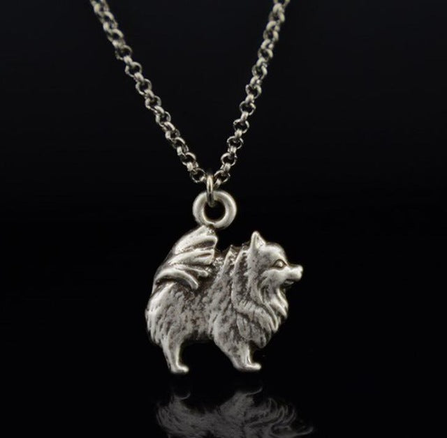 Vintage Silver Color Pomeranian Dog Charm Pendant Necklace