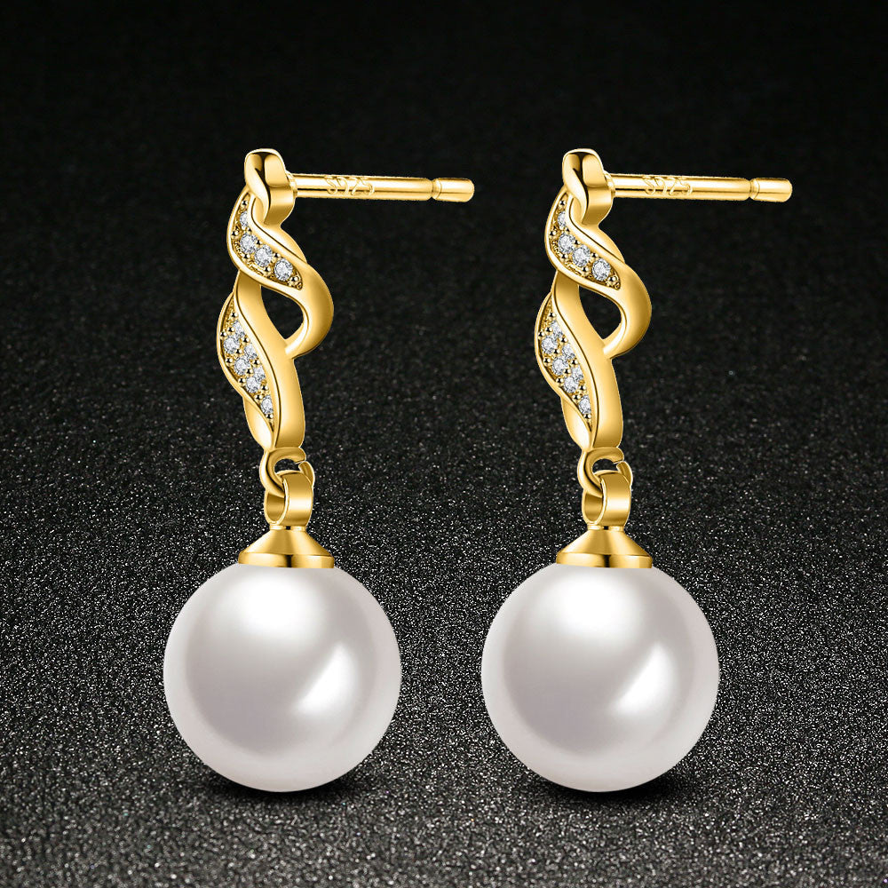 Crystal Pearl Rhinestone Earrings