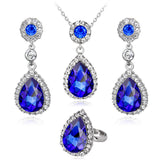 Women Tear Drop Necklace Set with Cubic Zircon Stones