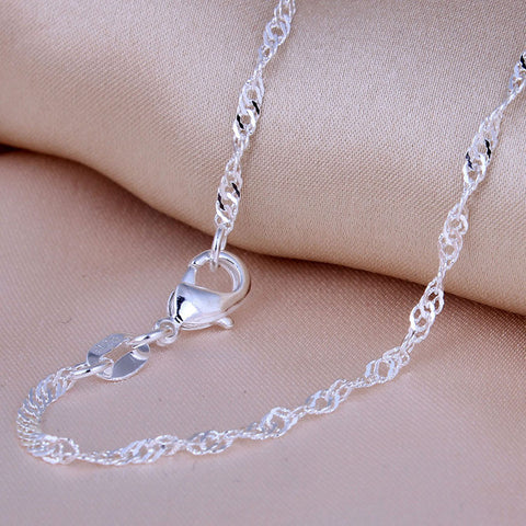 Hainon Silver plated twisted wave Necklace Chains for Pendants