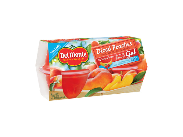 Del Monte Lite Diced Peaches in Strawberry-Banana Flavored Gel, 4 pk