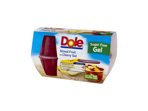 Dole Sugar Free Mixed Fruit In Cherry Gel, 4ct