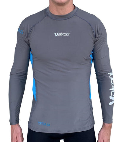 Vaikobi VCold Performance L/S Base Layer Top - Unisex - Grey/Cyan