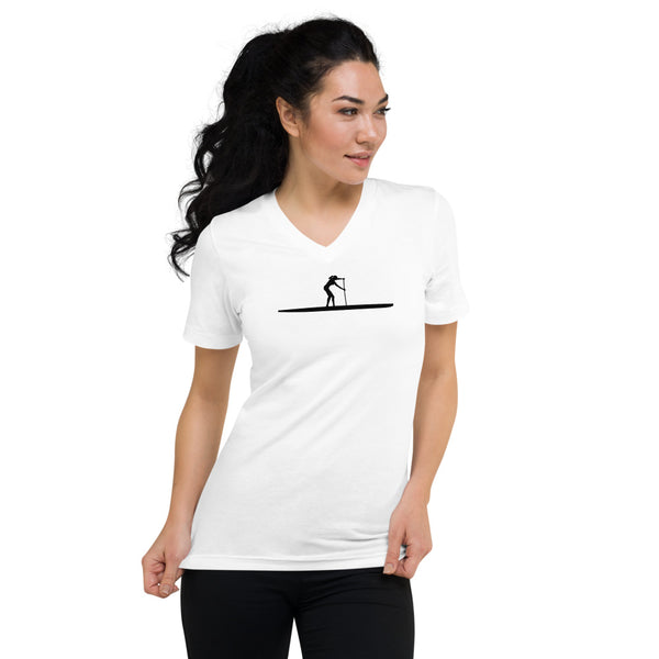 SUP Short Sleeve V-Neck T-Shirt - white - women
