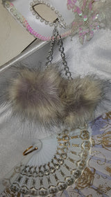 Faux Fur Pom Pom Earrings.