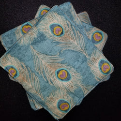 Cloth Coasters peacock print