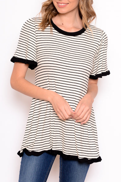 Striped Top with Contrast Trim